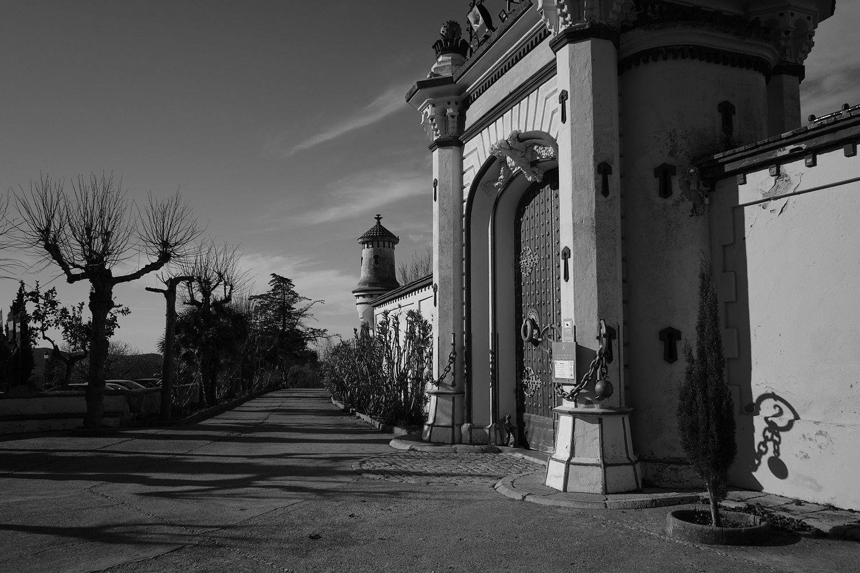 Barcelona, Sitges, Olivella, Sakya Tashi Ling Sanctuary buddhist monastery entrance at the former pioneer's villa Palau Novella built in 1890