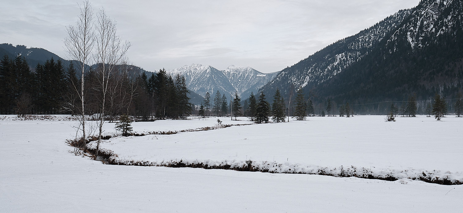 Graswangtal, Oberammergau, Bavaria, the source pools of the Ammer river channel over the plain towards the north. View to the east.