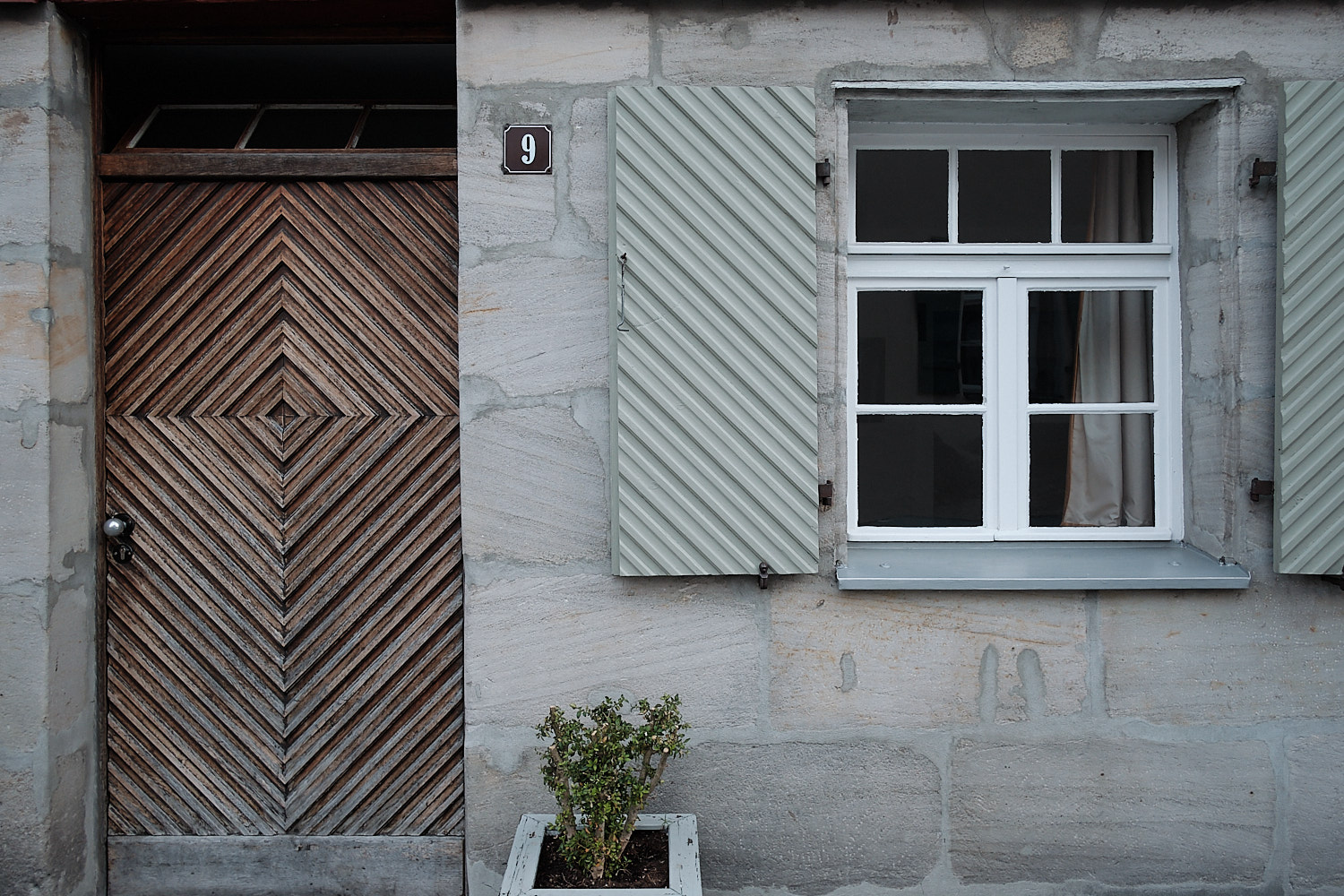 Housedoors with characteristic squared concentric releif in Franconia, Germany