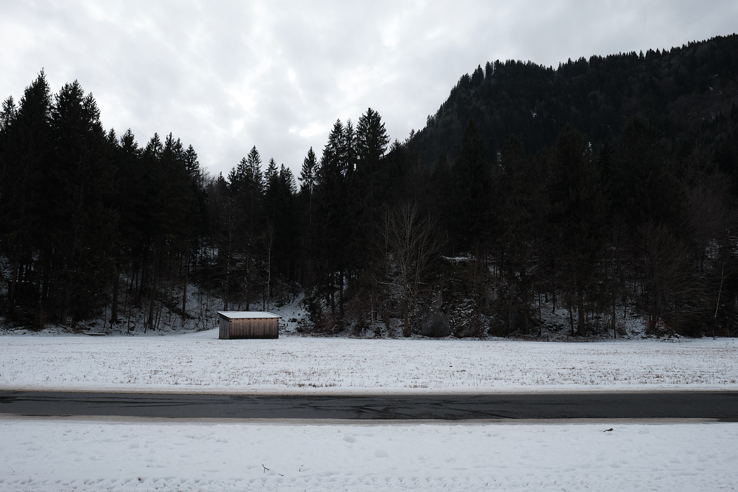 Oberammergau, Bavaria, shed, suspense atmosphere in an overcast day of January