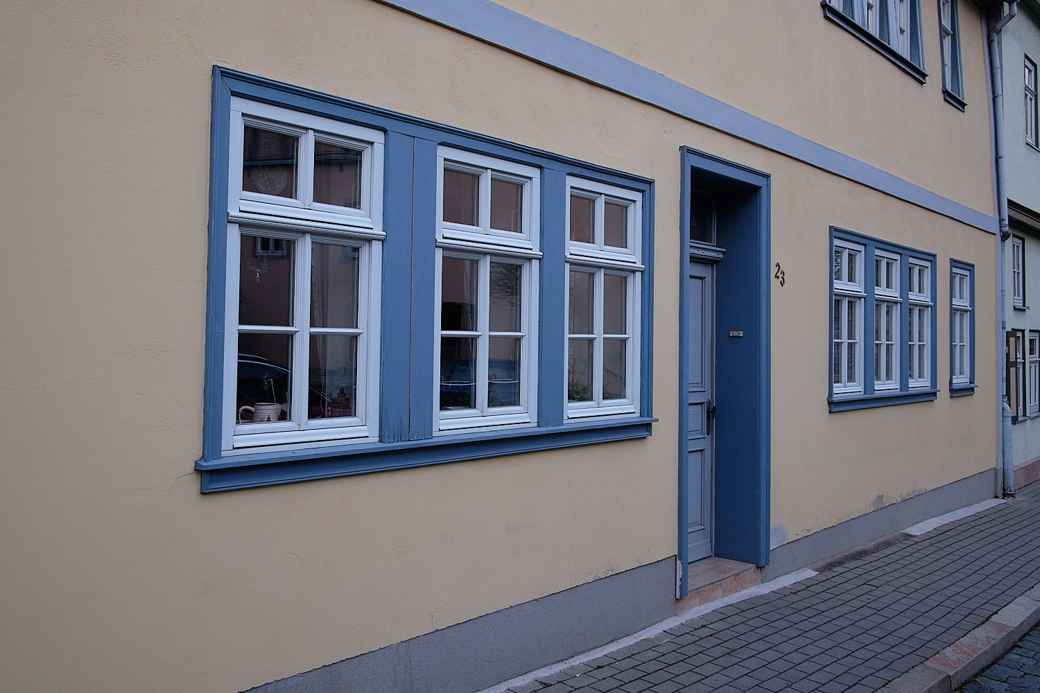 Renovated city center and building facades of Bad Langensalza, Germany