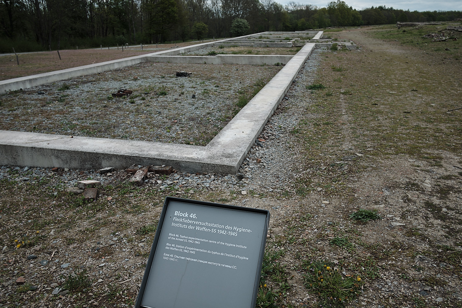 Lay-out remains of the former camp barracks in the Memorial Site of the KZ-Buchenwald, Weimar, Germany