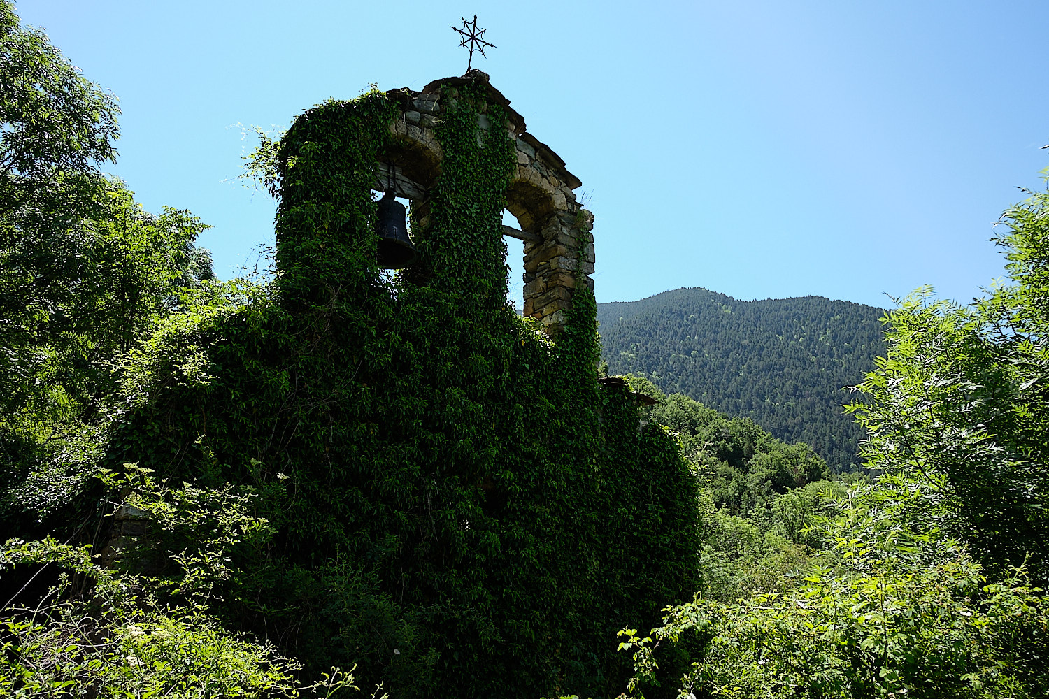 Abandoned bells tower at Saraís (ghost town), Vall de Boí, Pyrenees, Spain