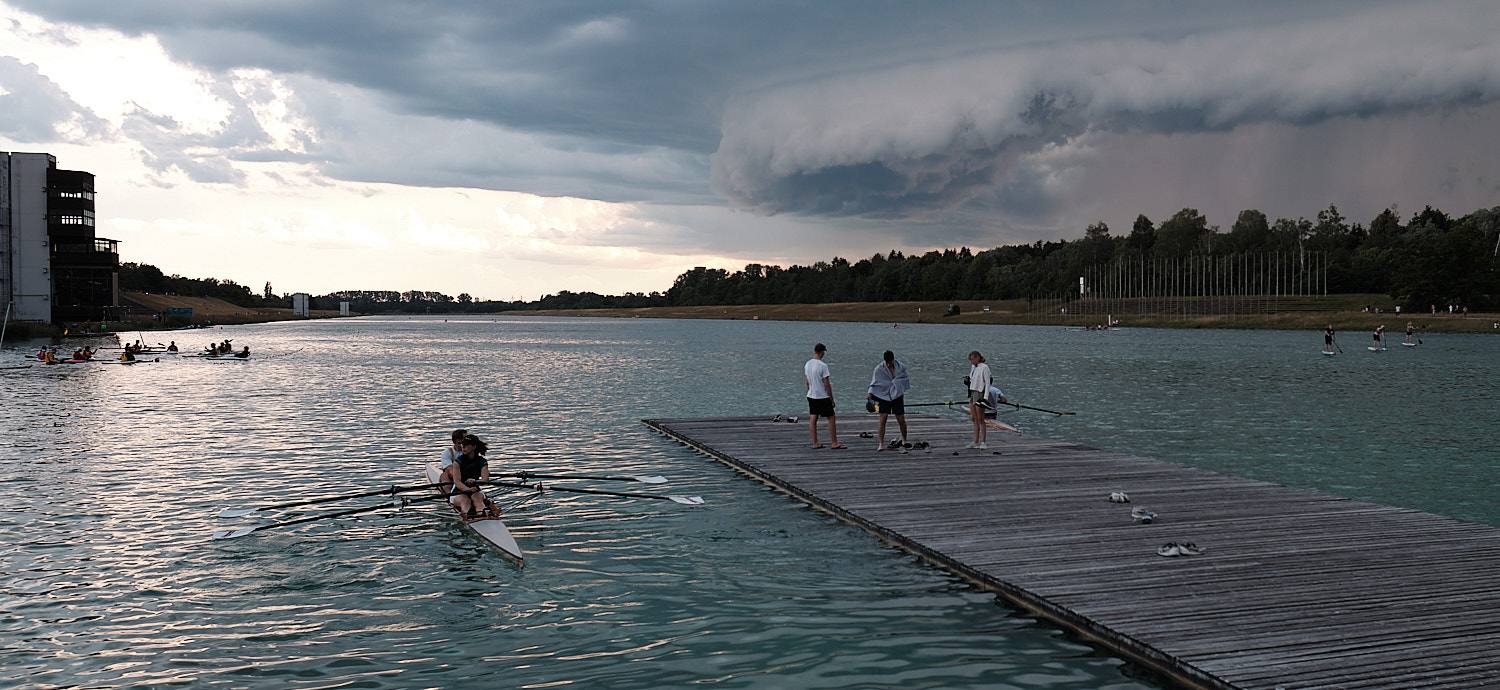 1972 Olympic Games Regatta course Oberschleißheim near Munich. Start side under a menacing sky just before the storm.