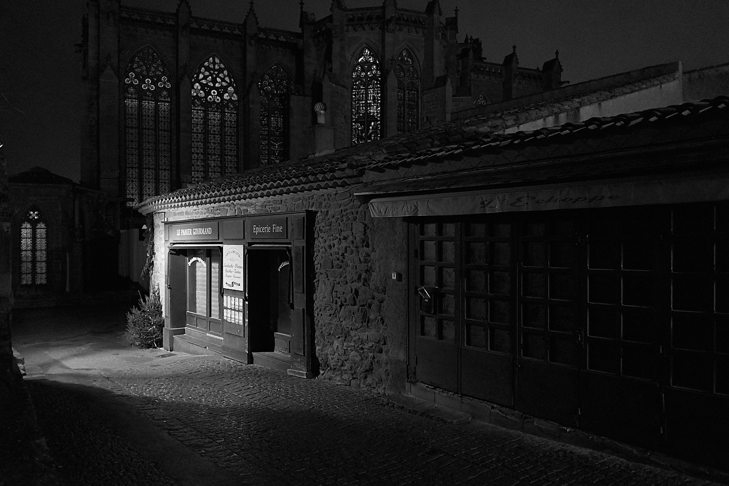 Night street view of the cathedral in the fortress city of Carcassone in south France
