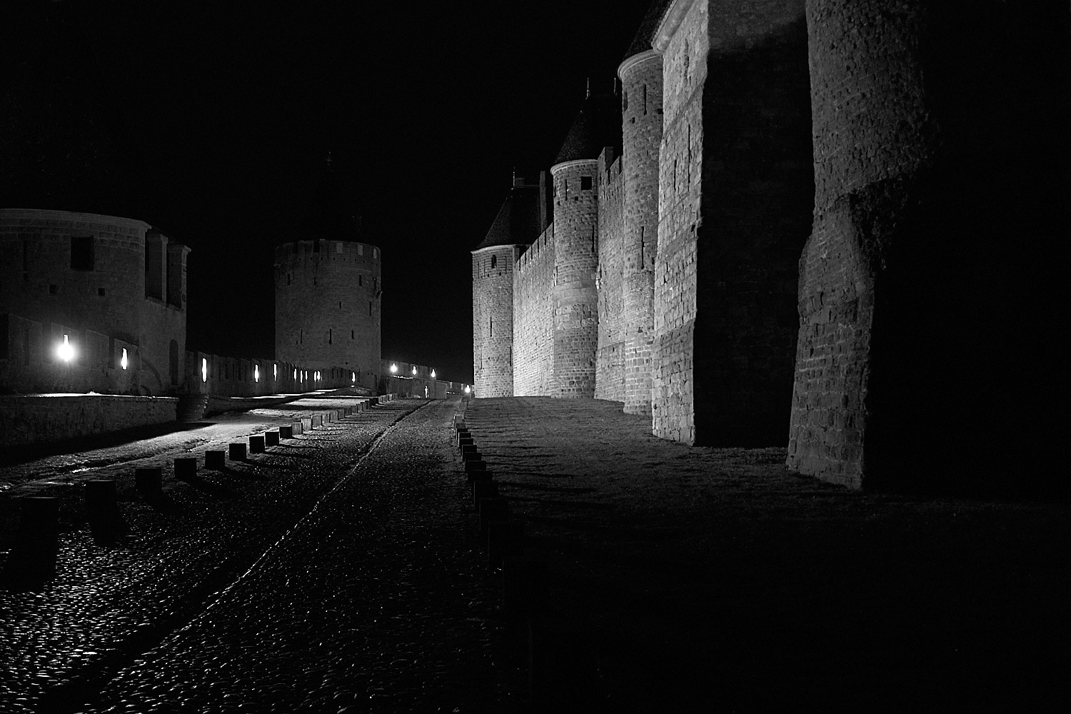 Night view of the walls of the fortress city of Carcassone in south France