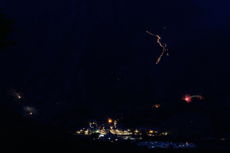 "Night photograph of the Intangible Cultural Heritage of Humanity by UNESCO in the nomination ""Les festes del foc del solstici d'estiu als Pirineus"""