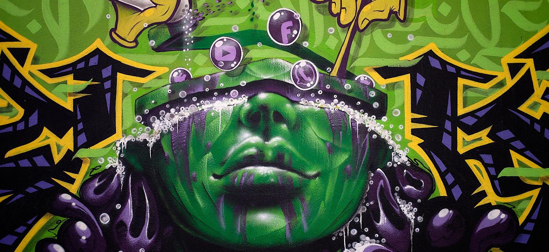 Graffitti pop art under the Donnersbergerbrücke in Munich