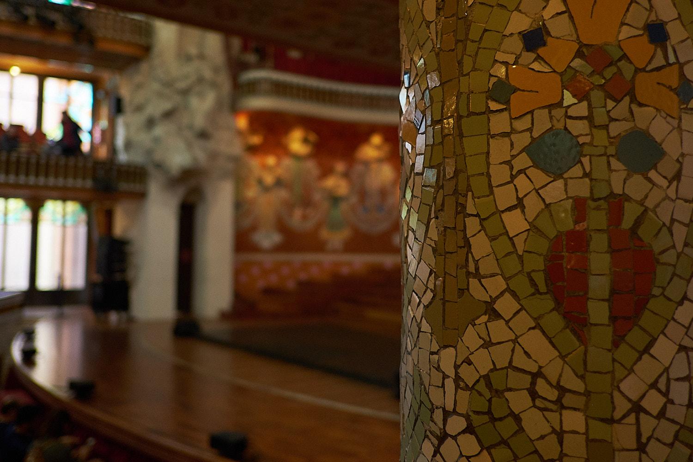 Detail column with mosaic, Palau de la Musica Barcelona