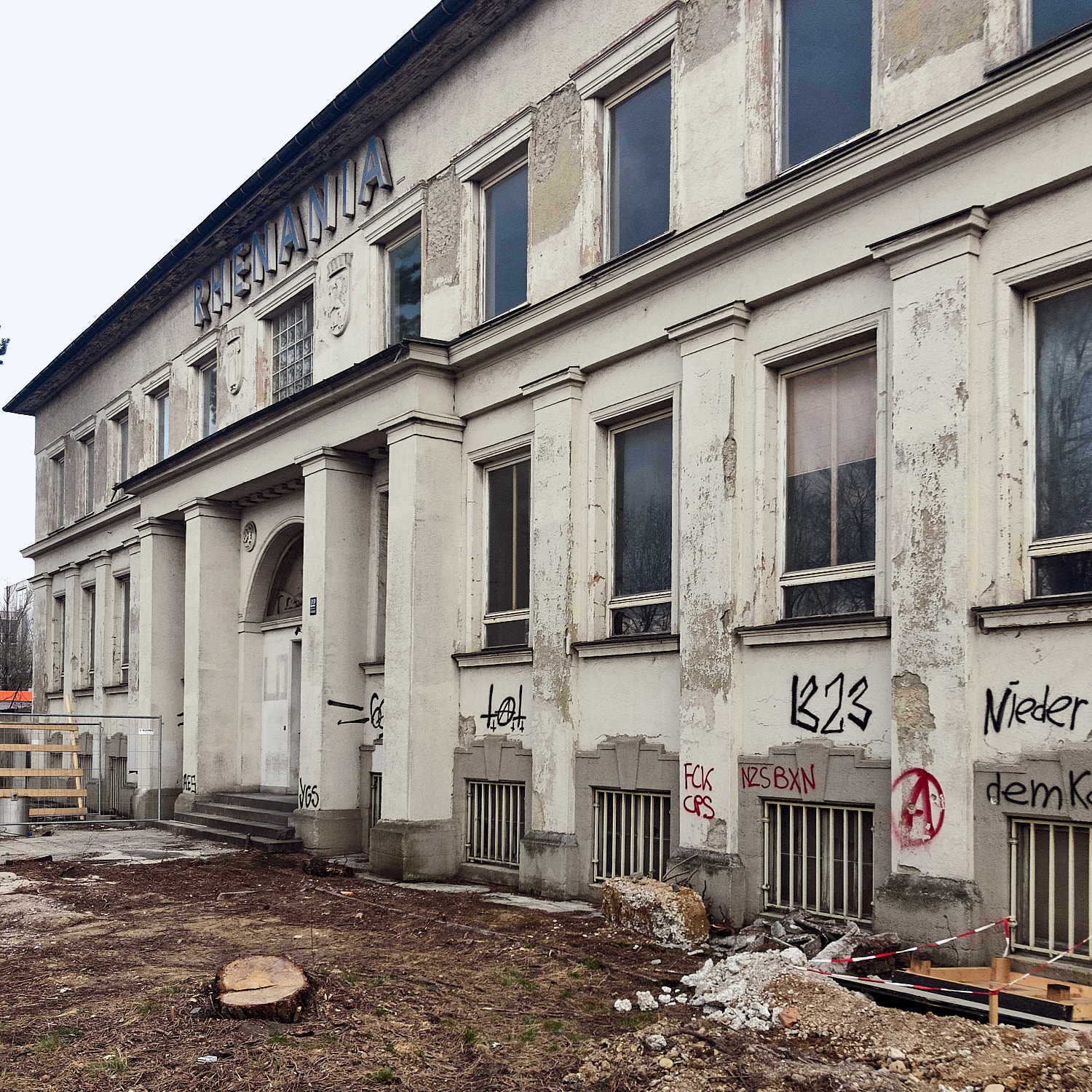 Former office building of a transportation company named Rhenania before an urban development transformation will turn her into an embalmed memory of the industrial past