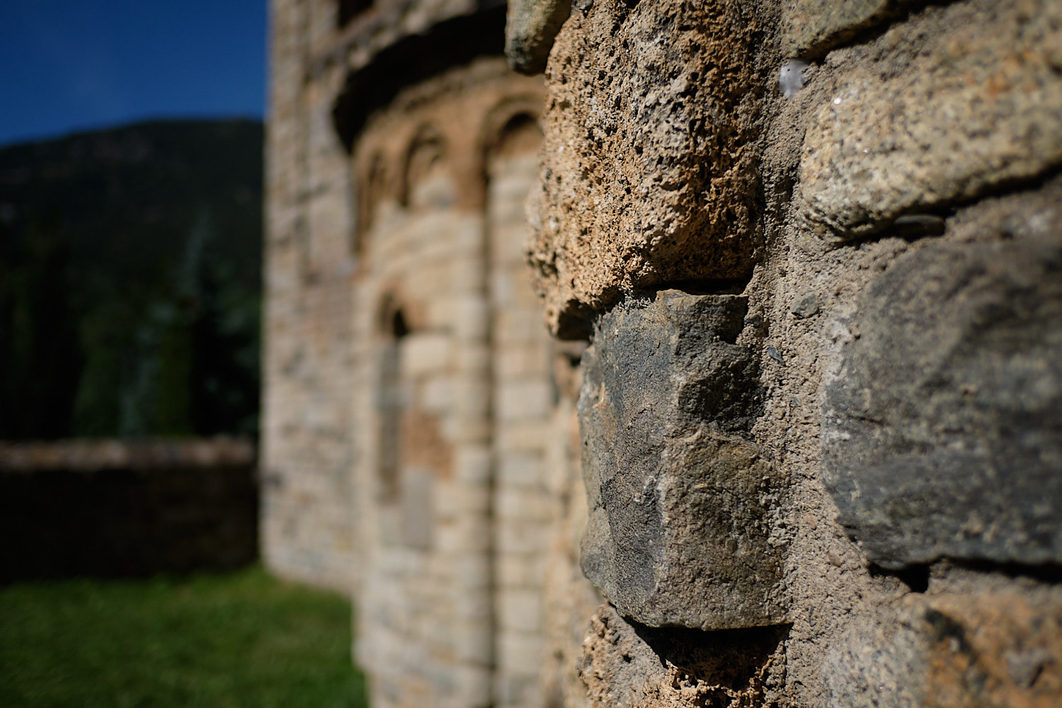 Day view with unfocused background of the romanesque church of Taüll, Vall de Boí, Pyrenees, Spain