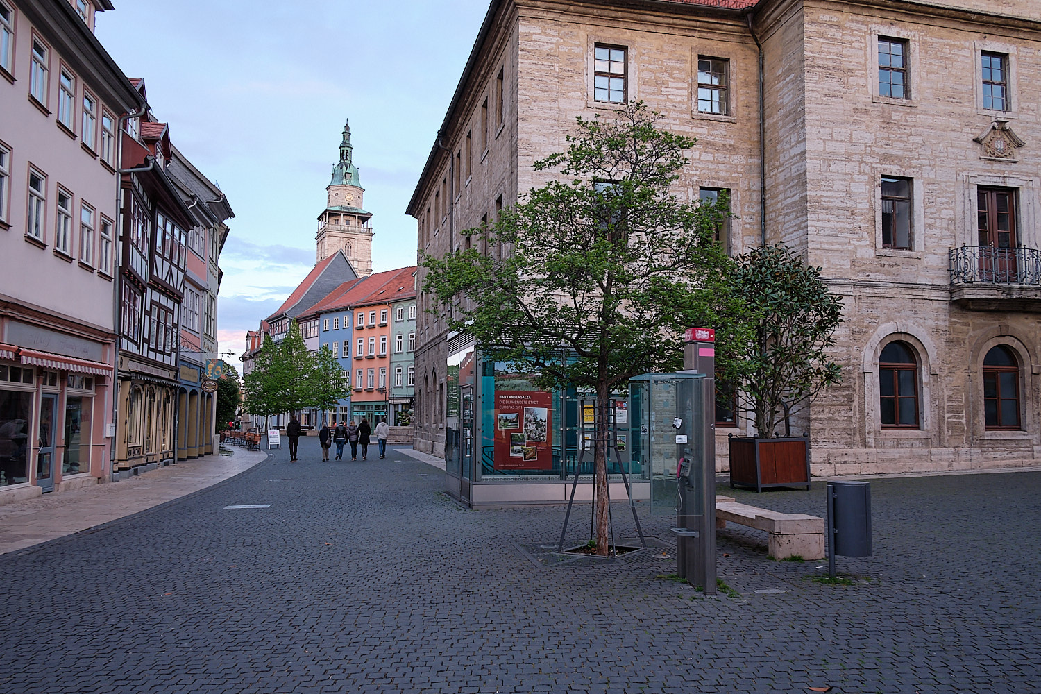 Pedestrian zone and buildings facades of Bad Langensalza, Germany