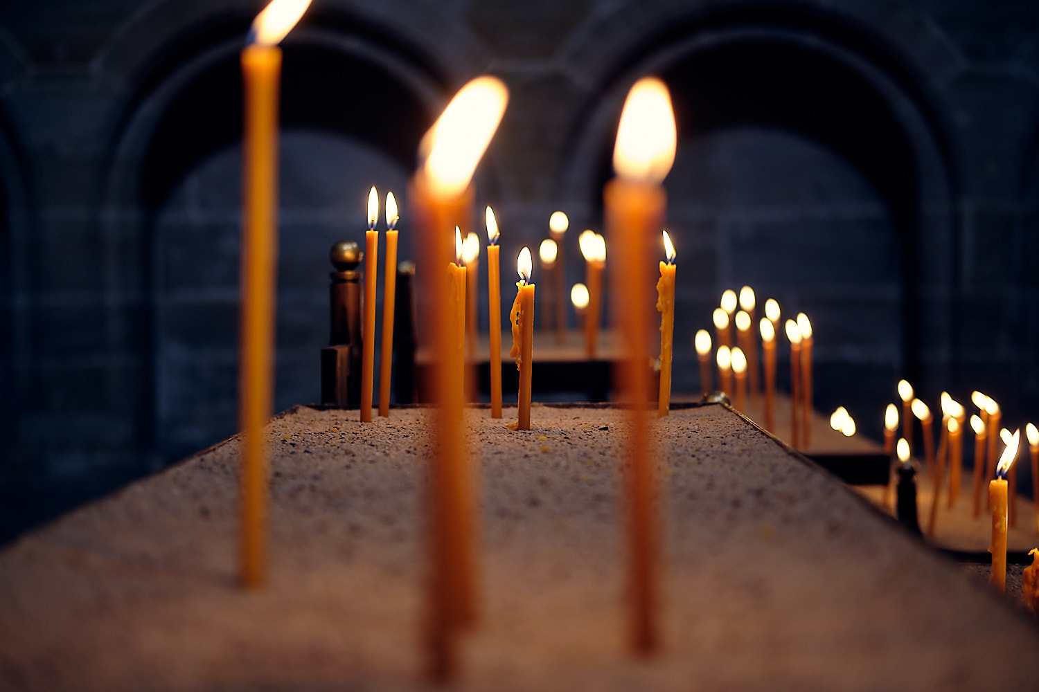 Candlelight at the cathedral of the city of Bamberg, Germany