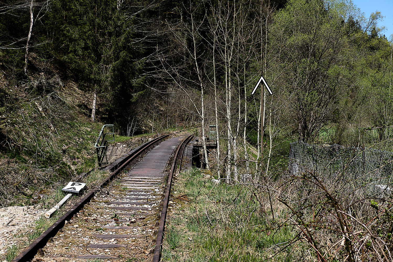 Abandoned railtracks along the Bachwanderweg round Hauzenberg, Germany