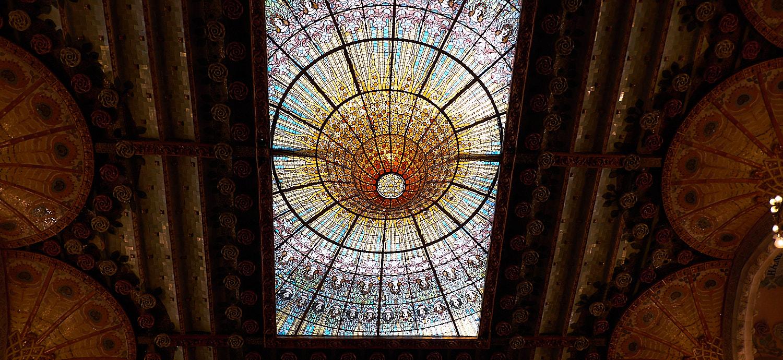 Detail ceiling mosaic, Palau de la Musica Barcelona