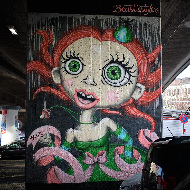 Graffitti pop art by Beastiestylez under the Donnersbergerbrücke in Munich.