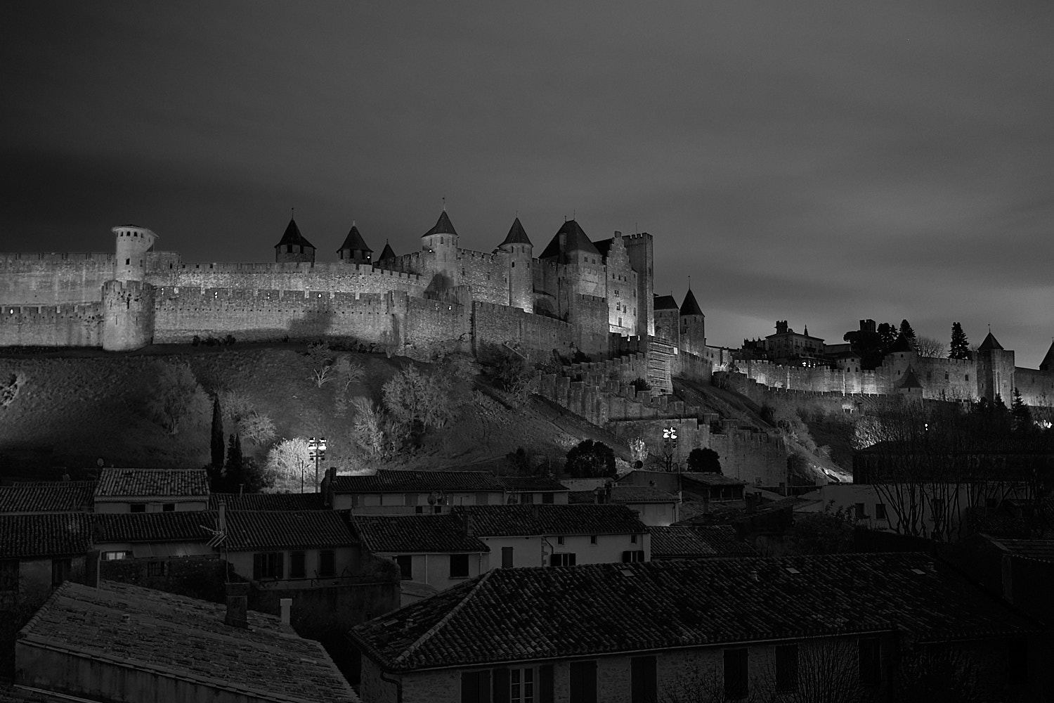 Night view of the fortress city of Carcassone in south France