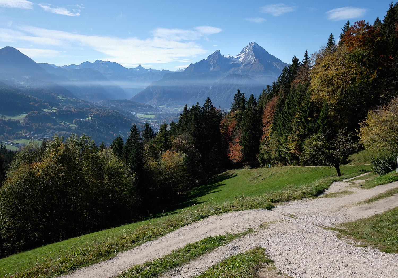 Watzmann seen from the north east across Berchtesgaden. Kneifelspitze