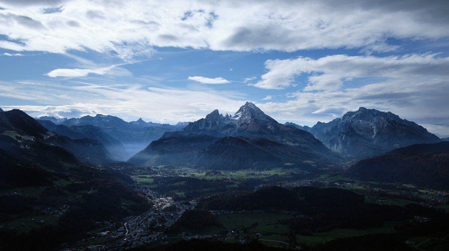 Watzmann seen from the north east across Berchtesgaden