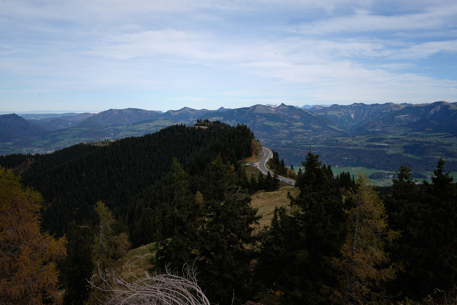 View from the Roßfeldpanorama road to the Hoher Göll