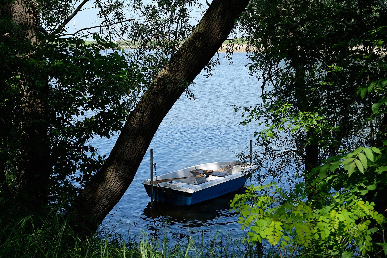 Lake and fisherman's boat in Brandenburg