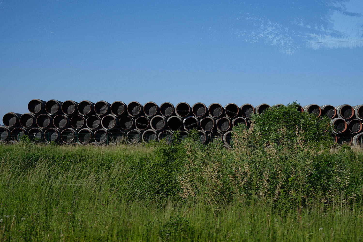 North Stream gas pipes in Rügen waiting to be shipped to the building site